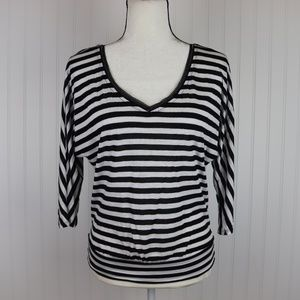 WHBM Striped V Neck Blouse Size XXS